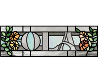 Ola (enlarges to 25 x 6, name transom stained glass pattern)