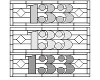 133 house transom (3 different spacings for the numbers)