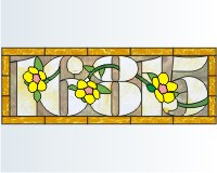 16815 house number transom with buttercups
