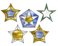 5 5 point stars (ornaments)