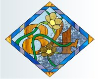 84 diamond house number buttercup stained glass pattern