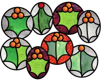 8 Holly leaves ornaments