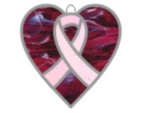 Breast cancer ribbon heart suncatcher