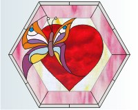Butterfly hexagon heart