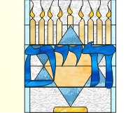 L'chaim candelabra and star of David