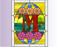 "Alphabet stained glass easter egg ""M"""