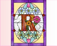 "Alphabet stained glass easter egg ""R"""