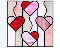 Heart quilt glass pattern