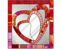 Heart mosaic stained glass mirror
