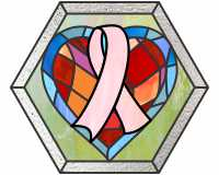 Hearts n breast cancer ribbon mosaic (stepping stone hexagon)