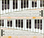 Keyboard transum stained glass pattern