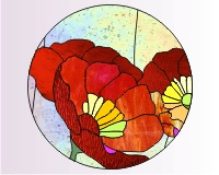Stained Glass Pattern - Blue Poppy (Meconopsis) Lampshade